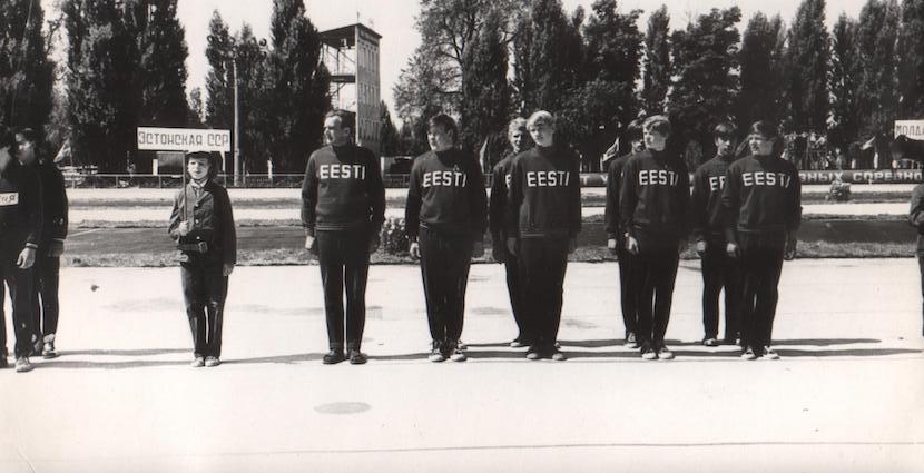ENSV koondis NSV Liidu tuletõrjespordi meistrivõistlustel Kiievis. Foto: Erakogu
